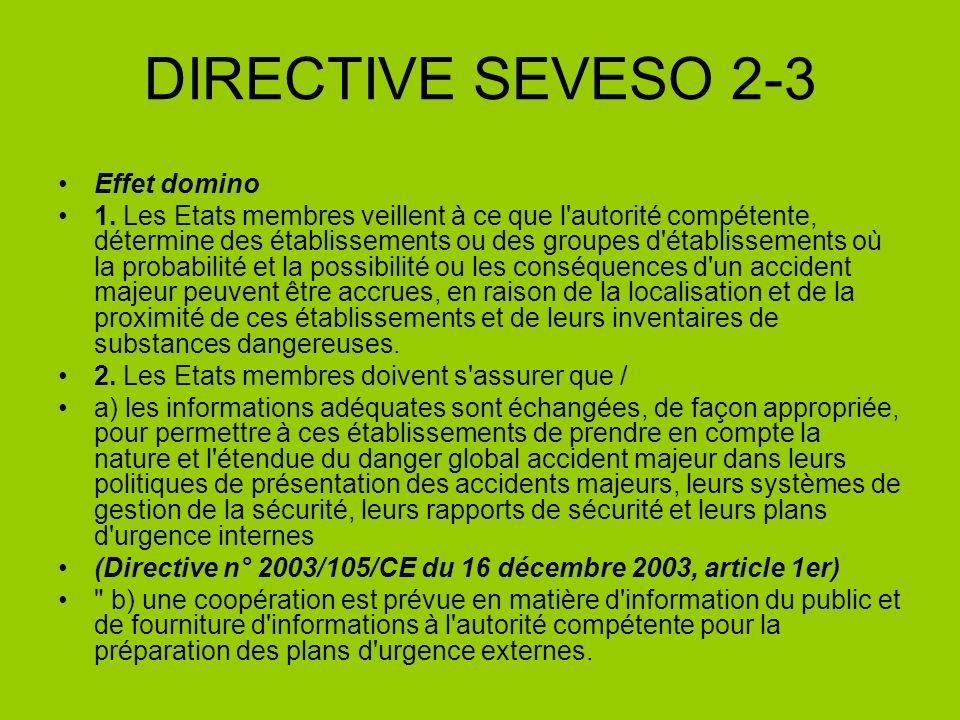 DIRECTIVE SEVESO 2-3 Effet domino 1. Les Etats membres veillent à ce que l'autorité compétente, détermine des établissements ou des groupes d'établiss