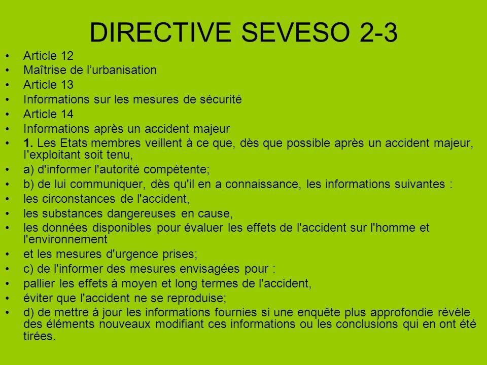 DIRECTIVE SEVESO 2-3 Article 12 Maîtrise de lurbanisation Article 13 Informations sur les mesures de sécurité Article 14 Informations après un acciden
