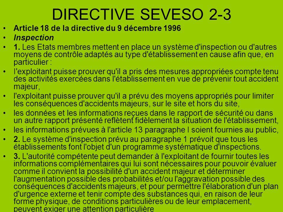 DIRECTIVE SEVESO 2-3 Article 18 de la directive du 9 décembre 1996 Inspection 1. Les Etats membres mettent en place un système d'inspection ou d'autre