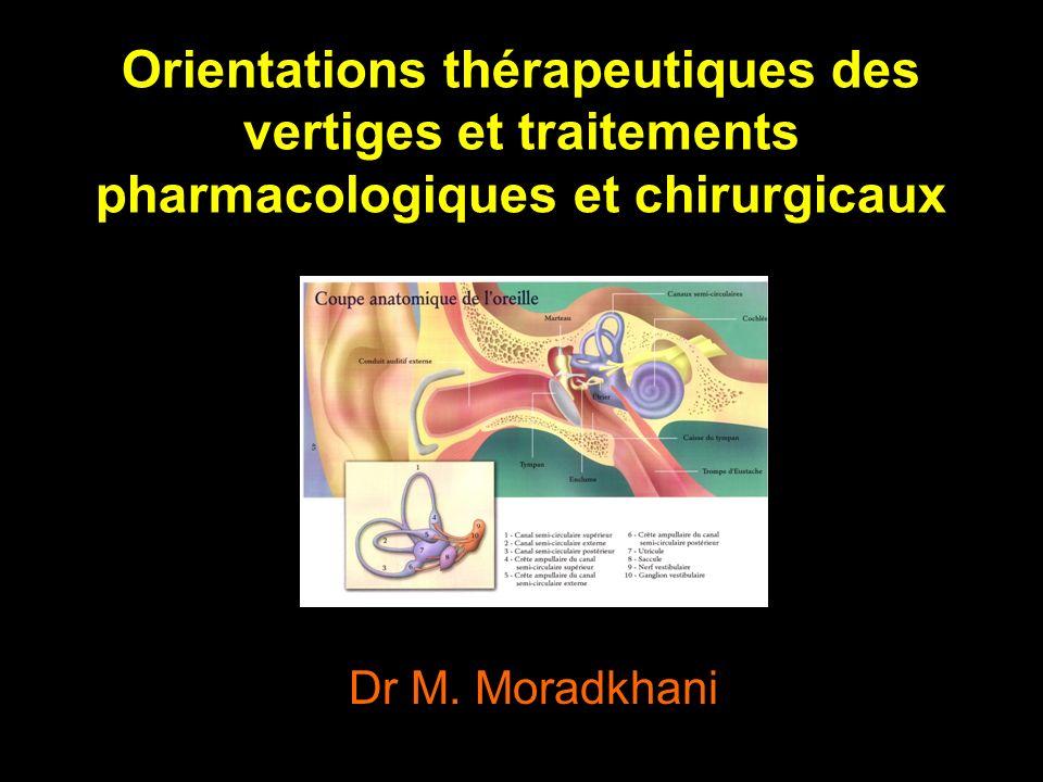 Orientations thérapeutiques des vertiges et traitements pharmacologiques et chirurgicaux Dr M.