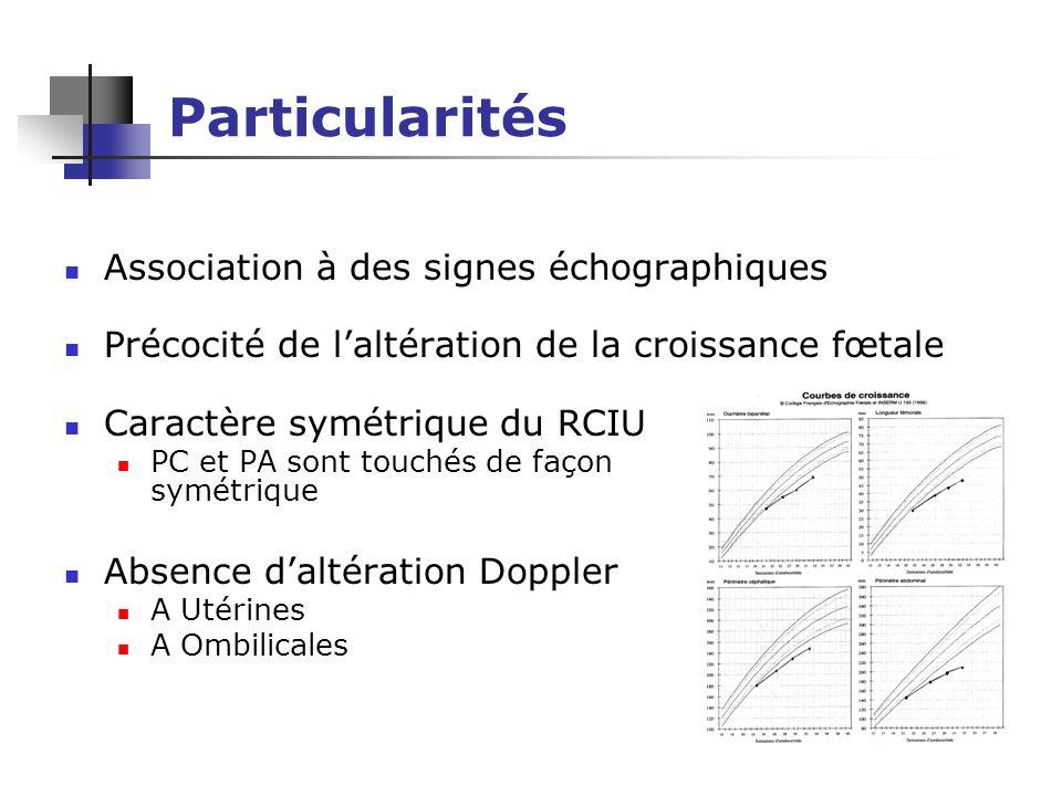 Particularités Association à des signes échographiques Précocité de laltération de la croissance fœtale Caractère symétrique du RCIU PC et PA sont tou