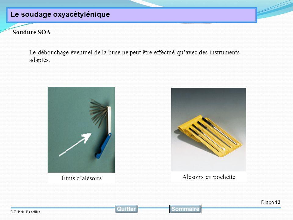 Diapo 13 C E P de Bazeilles Le soudage oxyacétylénique Le débouchage éventuel de la buse ne peut être effectué quavec des instruments adaptés. Alésoir