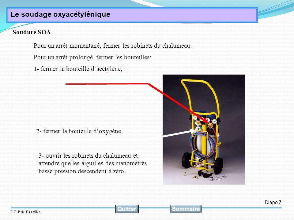 Diapo 7 C E P de Bazeilles Le soudage oxyacétylénique Pour un arrêt momentané, fermer les robinets du chalumeau. Pour un arrêt prolongé, fermer les bo