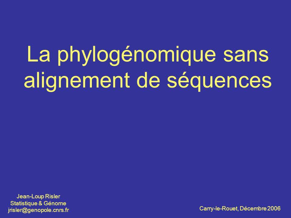 La phylogénomique sans alignement de séquences Jean-Loup Risler Statistique & Génome jrisler@genopole.cnrs.fr Carry-le-Rouet, Décembre 2006