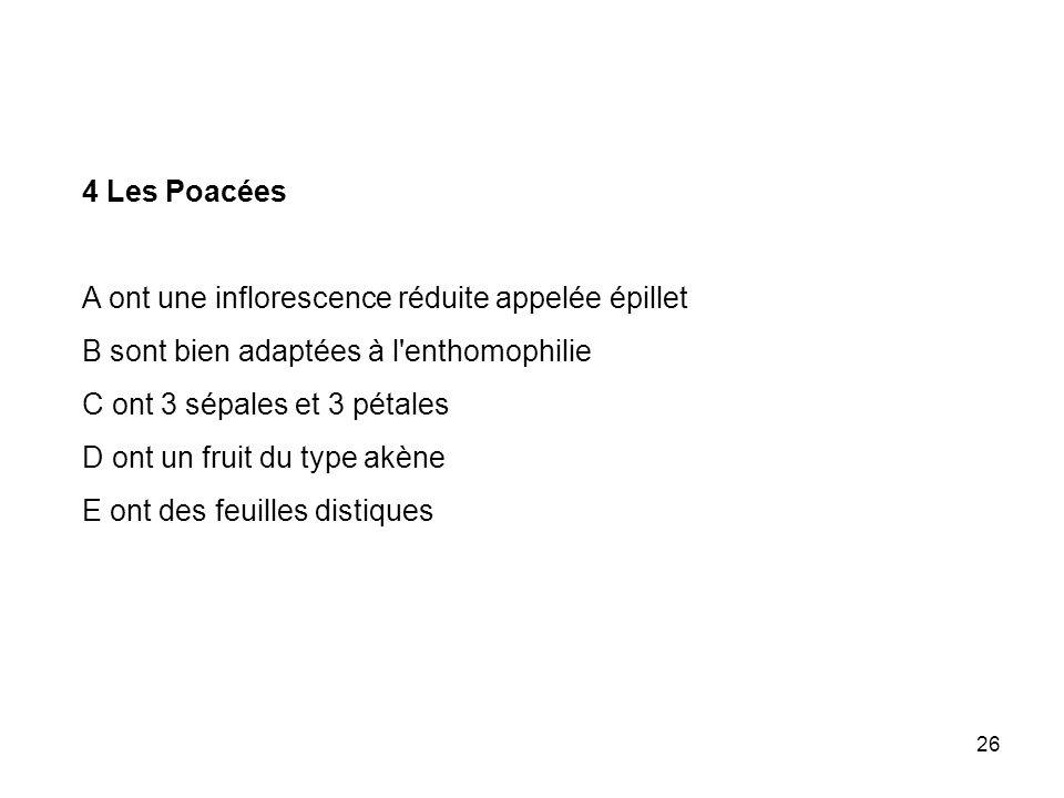 26 4 Les Poacées A ont une inflorescence réduite appelée épillet B sont bien adaptées à l'enthomophilie C ont 3 sépales et 3 pétales D ont un fruit du