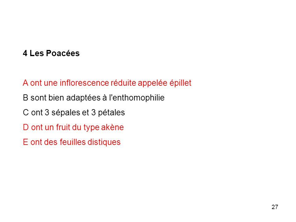 27 4 Les Poacées A ont une inflorescence réduite appelée épillet B sont bien adaptées à l'enthomophilie C ont 3 sépales et 3 pétales D ont un fruit du