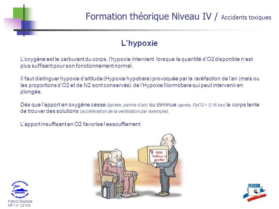 Patrick Baptiste MF1 n° 22108 Formation théorique Niveau IV / Accidents toxiques Lhypoxie Loxygène est le carburant du corps, lhypoxie intervient lorsque la quantité dO2 disponible nest plus suffisant pour son fonctionnement normal.