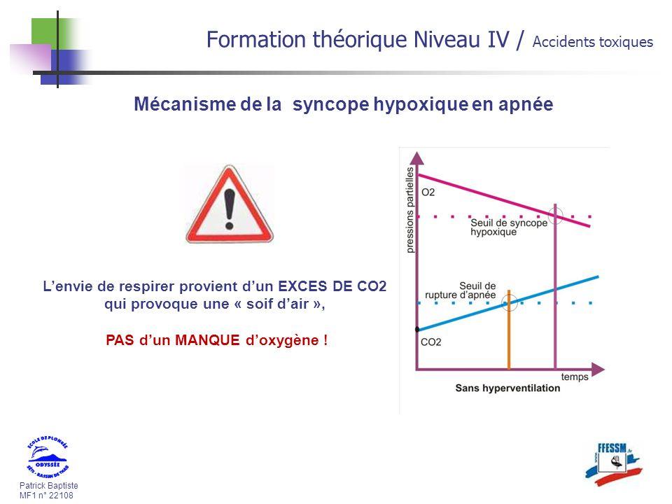 Patrick Baptiste MF1 n° 22108 Formation théorique Niveau IV / Accidents toxiques Mécanisme de la syncope hypoxique en apnée Lenvie de respirer provient dun EXCES DE CO2 qui provoque une « soif dair », PAS dun MANQUE doxygène !