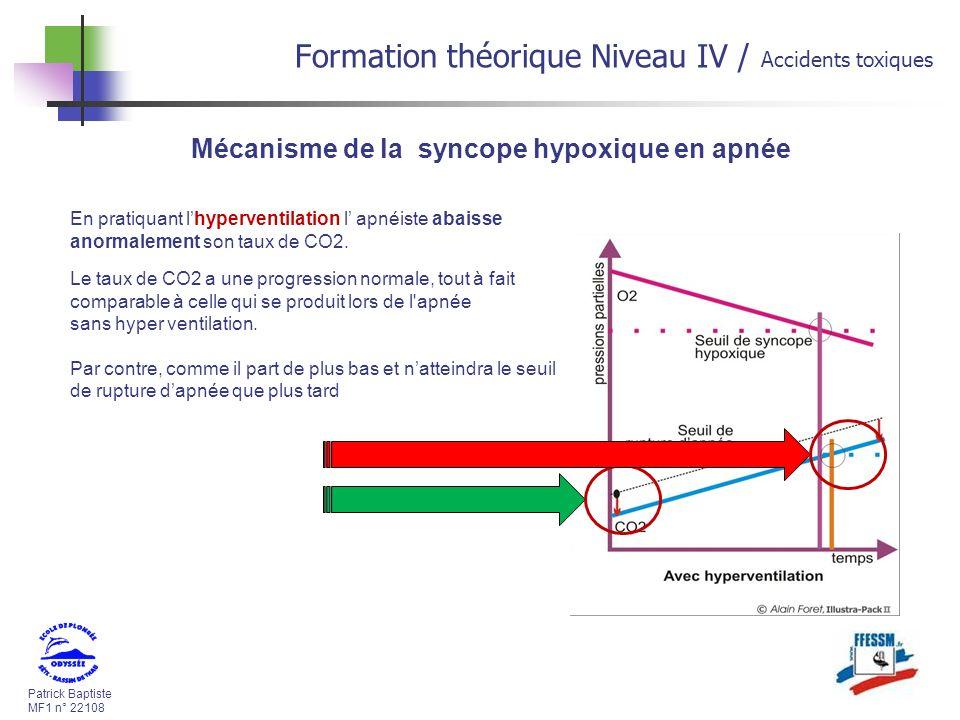 Patrick Baptiste MF1 n° 22108 Formation théorique Niveau IV / Accidents toxiques En pratiquant lhyperventilation l apnéiste abaisse anormalement son taux de CO2.