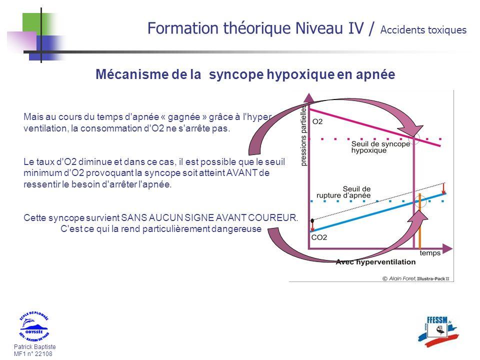 Patrick Baptiste MF1 n° 22108 Formation théorique Niveau IV / Accidents toxiques Mais au cours du temps d apnée « gagnée » grâce à l hyper ventilation, la consommation d O2 ne s arrête pas.