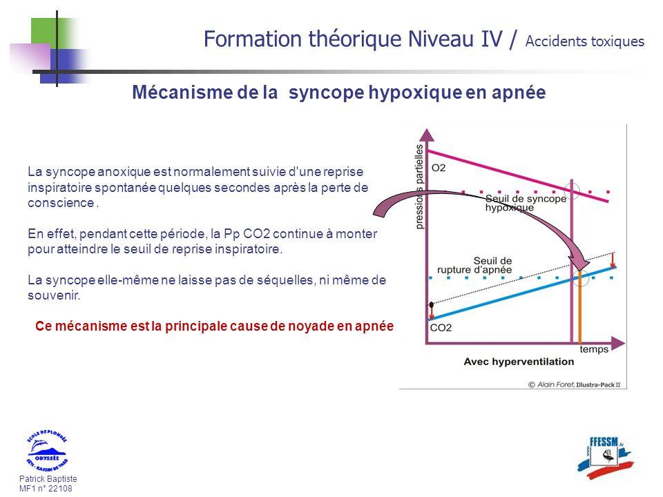 Patrick Baptiste MF1 n° 22108 Formation théorique Niveau IV / Accidents toxiques Mécanisme de la syncope hypoxique en apnée La syncope anoxique est normalement suivie d une reprise inspiratoire spontanée quelques secondes après la perte de conscience.