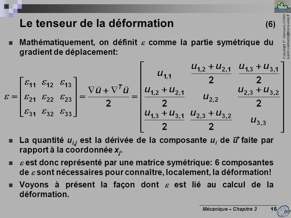 Copyright: P. Vannucci, UVSQ paolo.vannucci@meca.uvsq.fr ________________________________ Mécanique – Chapitre 3 15 Le tenseur de la déformation (6) M
