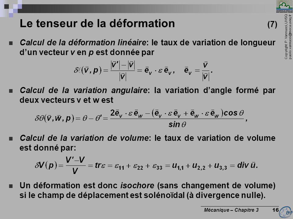 Copyright: P. Vannucci, UVSQ paolo.vannucci@meca.uvsq.fr ________________________________ Mécanique – Chapitre 3 16 Le tenseur de la déformation (7) C