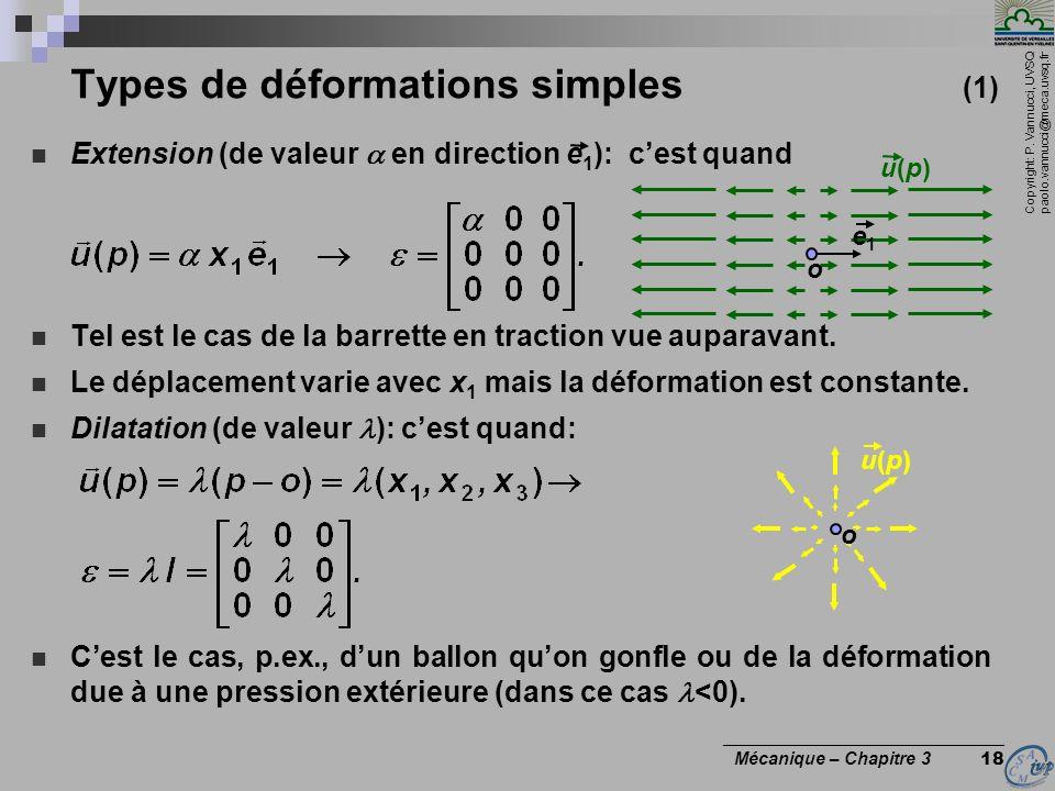 Copyright: P. Vannucci, UVSQ paolo.vannucci@meca.uvsq.fr ________________________________ Mécanique – Chapitre 3 18 Extension (de valeur en direction
