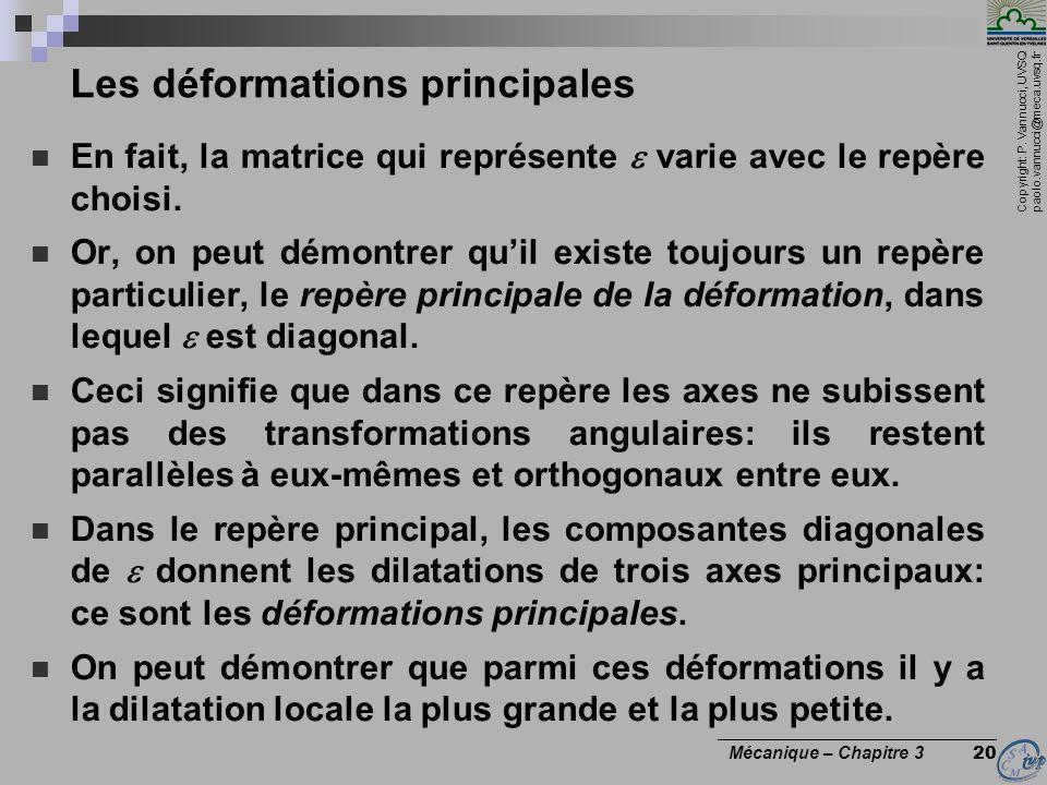 Copyright: P. Vannucci, UVSQ paolo.vannucci@meca.uvsq.fr ________________________________ Mécanique – Chapitre 3 20 Les déformations principales En fa