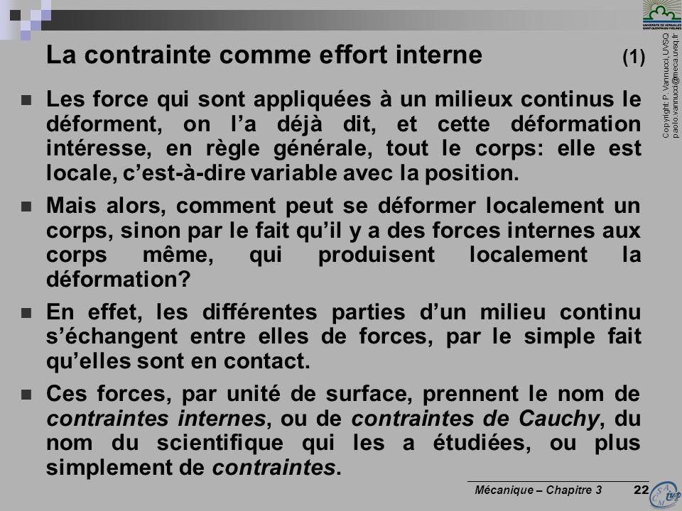 Copyright: P. Vannucci, UVSQ paolo.vannucci@meca.uvsq.fr ________________________________ Mécanique – Chapitre 3 22 La contrainte comme effort interne