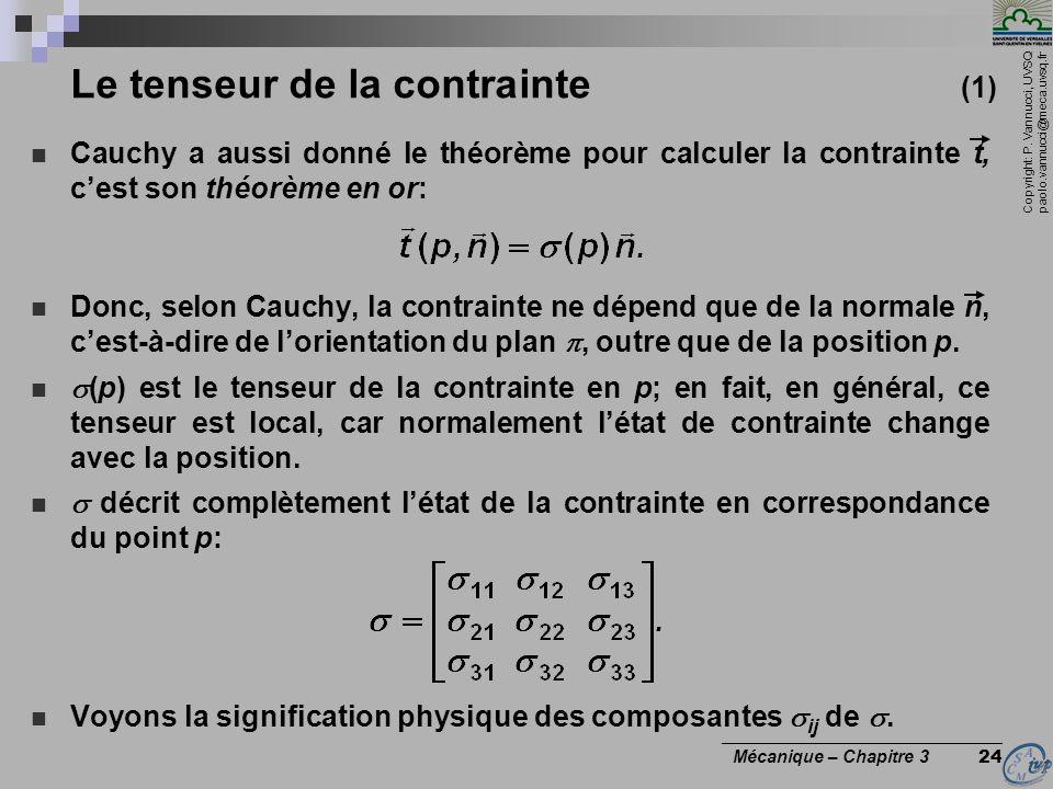 Copyright: P. Vannucci, UVSQ paolo.vannucci@meca.uvsq.fr ________________________________ Mécanique – Chapitre 3 24 Le tenseur de la contrainte (1) Ca