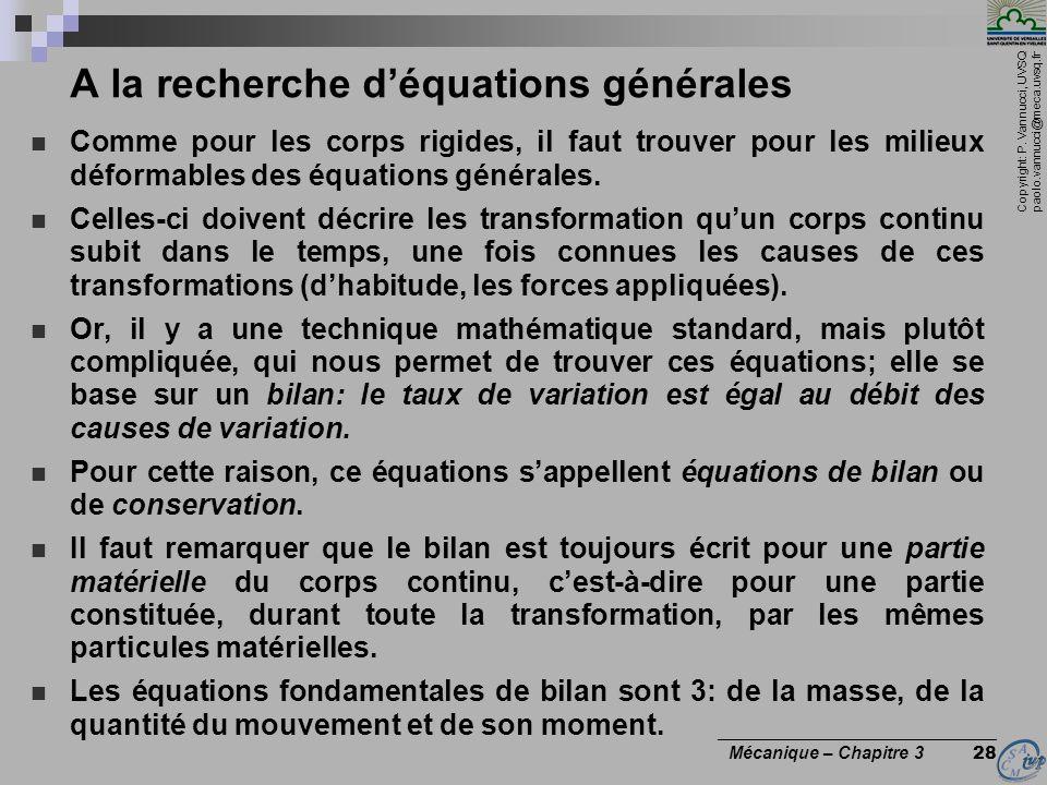 Copyright: P. Vannucci, UVSQ paolo.vannucci@meca.uvsq.fr ________________________________ Mécanique – Chapitre 3 28 A la recherche déquations générale