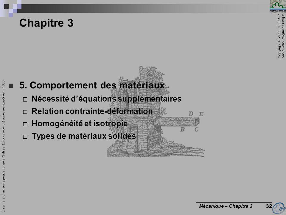 Copyright: P. Vannucci, UVSQ paolo.vannucci@meca.uvsq.fr ________________________________ Mécanique – Chapitre 3 32 Chapitre 3 5. Comportement des mat