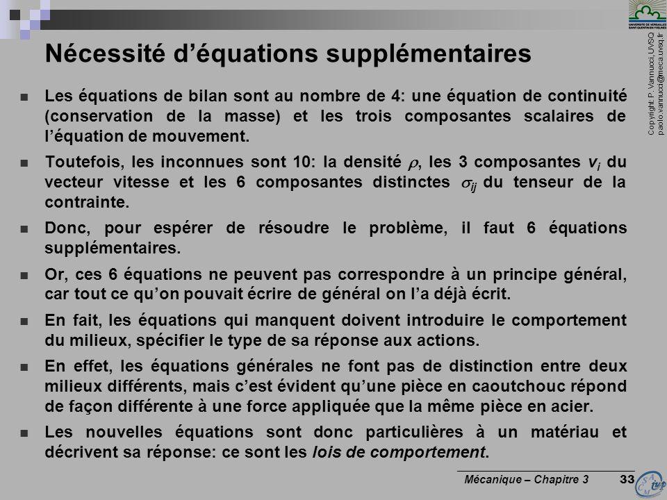Copyright: P. Vannucci, UVSQ paolo.vannucci@meca.uvsq.fr ________________________________ Mécanique – Chapitre 3 33 Nécessité déquations supplémentair