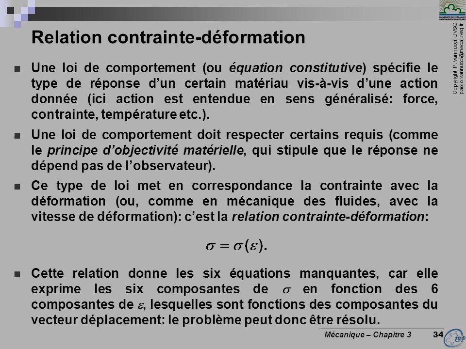Copyright: P. Vannucci, UVSQ paolo.vannucci@meca.uvsq.fr ________________________________ Mécanique – Chapitre 3 34 Relation contrainte-déformation Un
