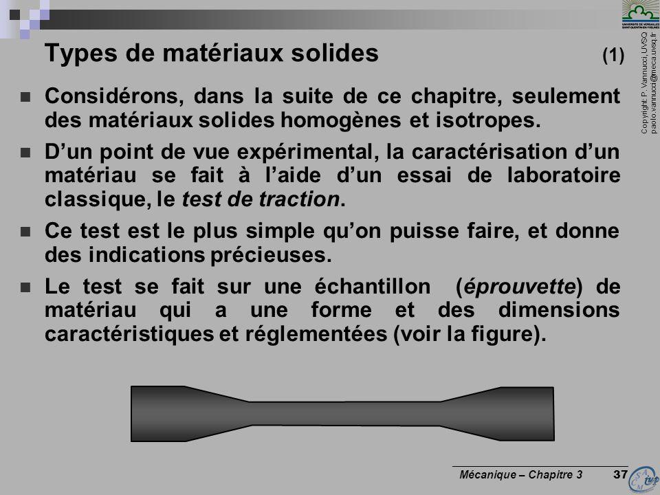 Copyright: P. Vannucci, UVSQ paolo.vannucci@meca.uvsq.fr ________________________________ Mécanique – Chapitre 3 37 Types de matériaux solides (1) Con