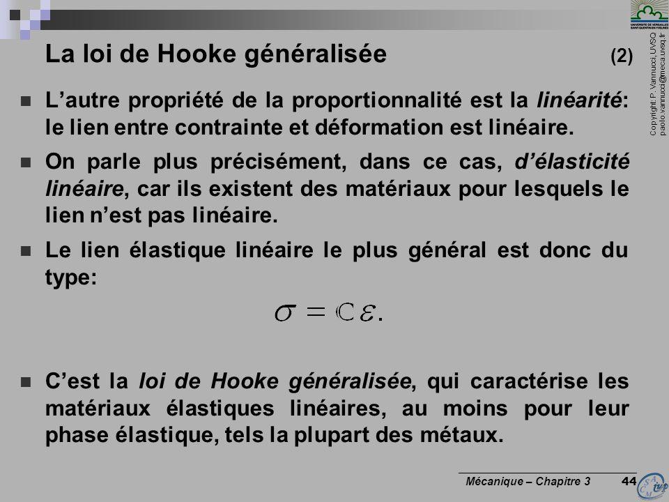 Copyright: P. Vannucci, UVSQ paolo.vannucci@meca.uvsq.fr ________________________________ Mécanique – Chapitre 3 44 La loi de Hooke généralisée (2) La