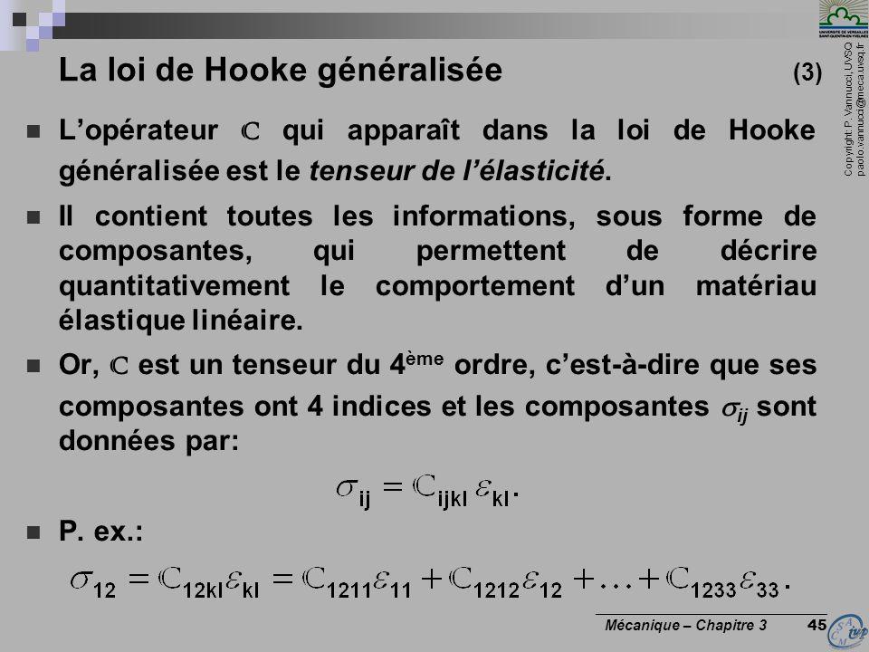 Copyright: P. Vannucci, UVSQ paolo.vannucci@meca.uvsq.fr ________________________________ Mécanique – Chapitre 3 45 La loi de Hooke généralisée (3) Lo