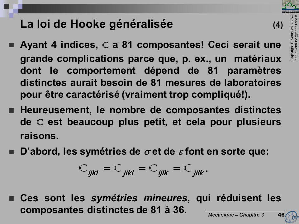 Copyright: P. Vannucci, UVSQ paolo.vannucci@meca.uvsq.fr ________________________________ Mécanique – Chapitre 3 46 La loi de Hooke généralisée (4) Ay