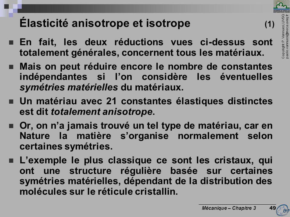 Copyright: P. Vannucci, UVSQ paolo.vannucci@meca.uvsq.fr ________________________________ Mécanique – Chapitre 3 49 Élasticité anisotrope et isotrope