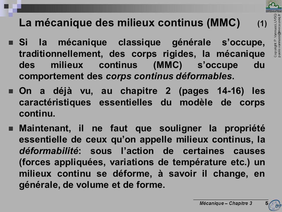 Copyright: P. Vannucci, UVSQ paolo.vannucci@meca.uvsq.fr ________________________________ Mécanique – Chapitre 3 5 La mécanique des milieux continus (
