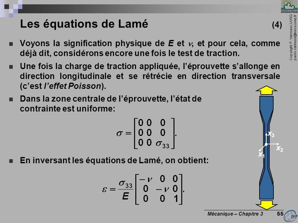 Copyright: P. Vannucci, UVSQ paolo.vannucci@meca.uvsq.fr ________________________________ Mécanique – Chapitre 3 55 Les équations de Lamé (4) Voyons l