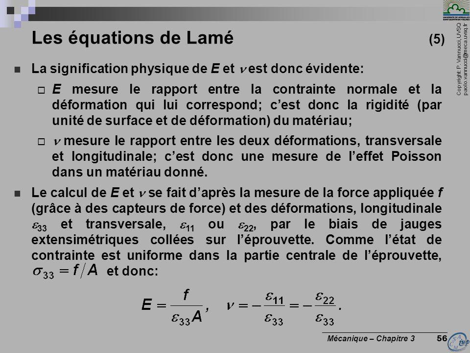 Copyright: P. Vannucci, UVSQ paolo.vannucci@meca.uvsq.fr ________________________________ Mécanique – Chapitre 3 56 Les équations de Lamé (5) La signi