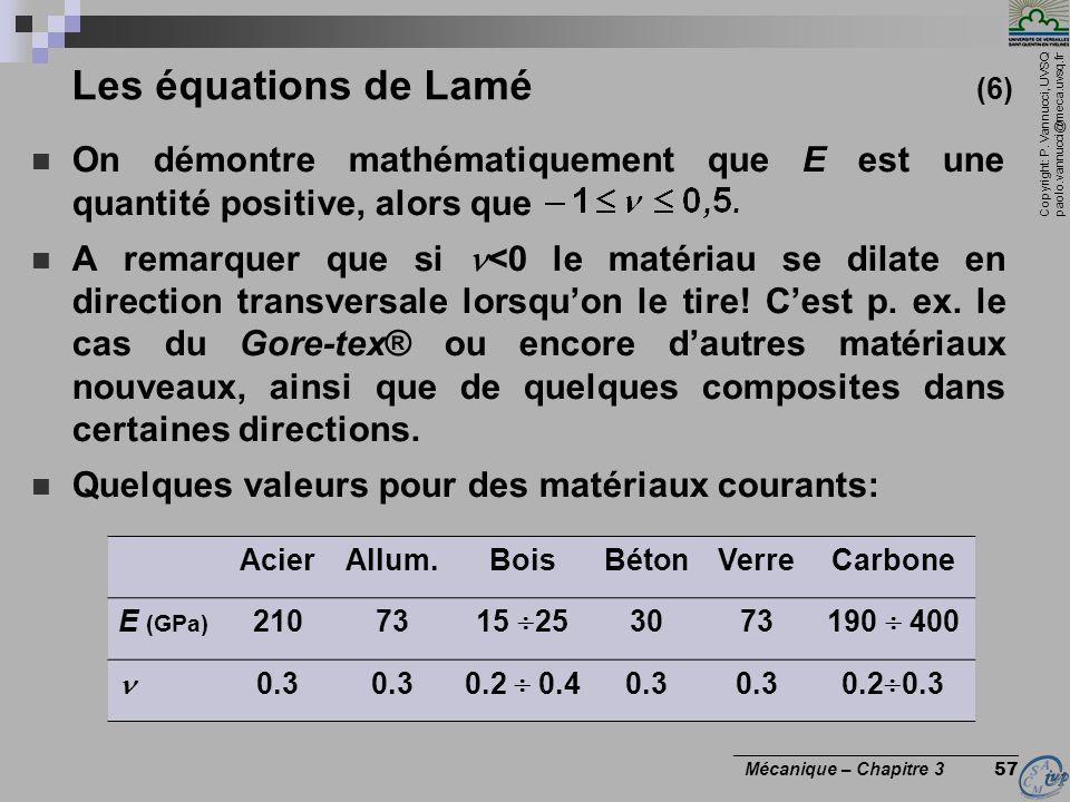 Copyright: P. Vannucci, UVSQ paolo.vannucci@meca.uvsq.fr ________________________________ Mécanique – Chapitre 3 57 Les équations de Lamé (6) On démon