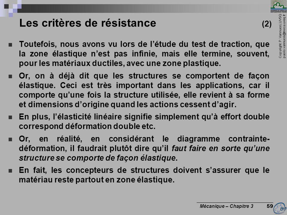 Copyright: P. Vannucci, UVSQ paolo.vannucci@meca.uvsq.fr ________________________________ Mécanique – Chapitre 3 59 Les critères de résistance (2) Tou