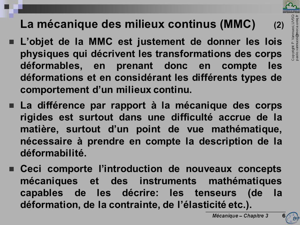 Copyright: P. Vannucci, UVSQ paolo.vannucci@meca.uvsq.fr ________________________________ Mécanique – Chapitre 3 6 La mécanique des milieux continus (