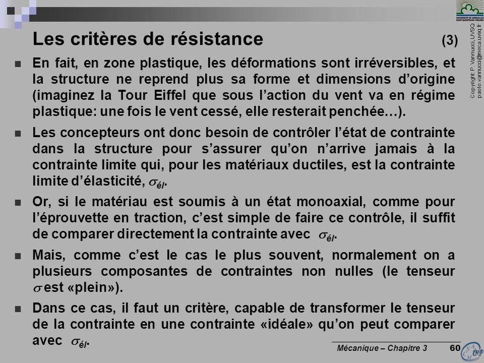 Copyright: P. Vannucci, UVSQ paolo.vannucci@meca.uvsq.fr ________________________________ Mécanique – Chapitre 3 60 Les critères de résistance (3) En