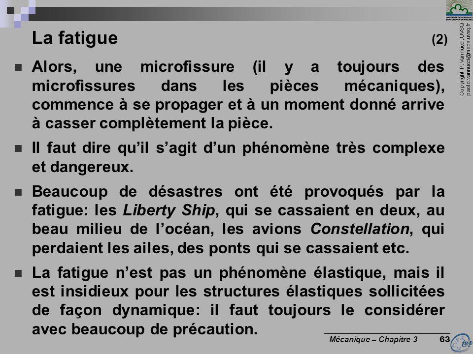 Copyright: P. Vannucci, UVSQ paolo.vannucci@meca.uvsq.fr ________________________________ Mécanique – Chapitre 3 63 La fatigue (2) Alors, une microfis