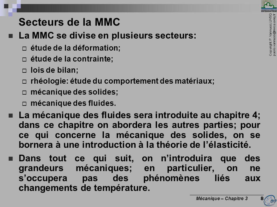 Copyright: P. Vannucci, UVSQ paolo.vannucci@meca.uvsq.fr ________________________________ Mécanique – Chapitre 3 8 Secteurs de la MMC La MMC se divise