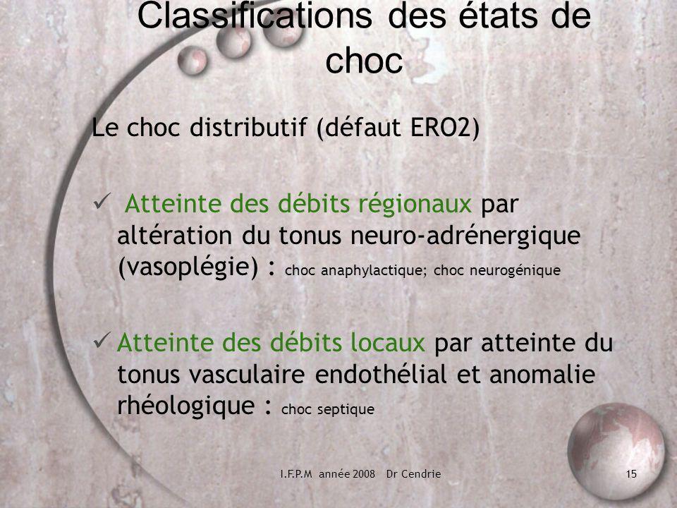 I.F.P.M année 2008 Dr Cendrie15 Classifications des états de choc Le choc distributif (défaut ERO2) Atteinte des débits régionaux par altération du to