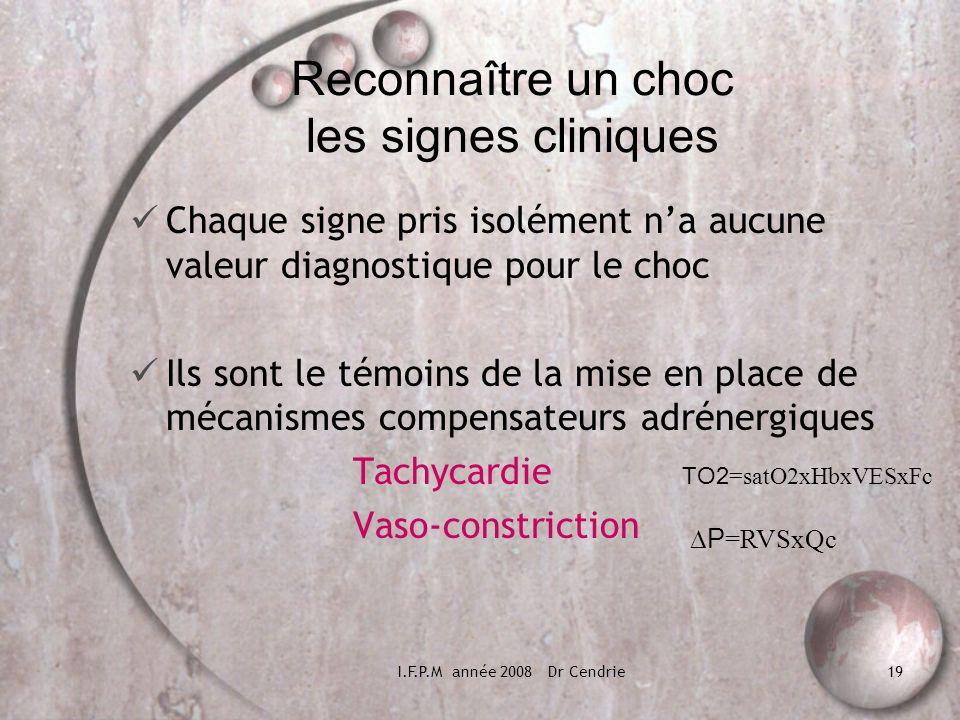 I.F.P.M année 2008 Dr Cendrie19 Reconnaître un choc les signes cliniques Chaque signe pris isolément na aucune valeur diagnostique pour le choc Ils so
