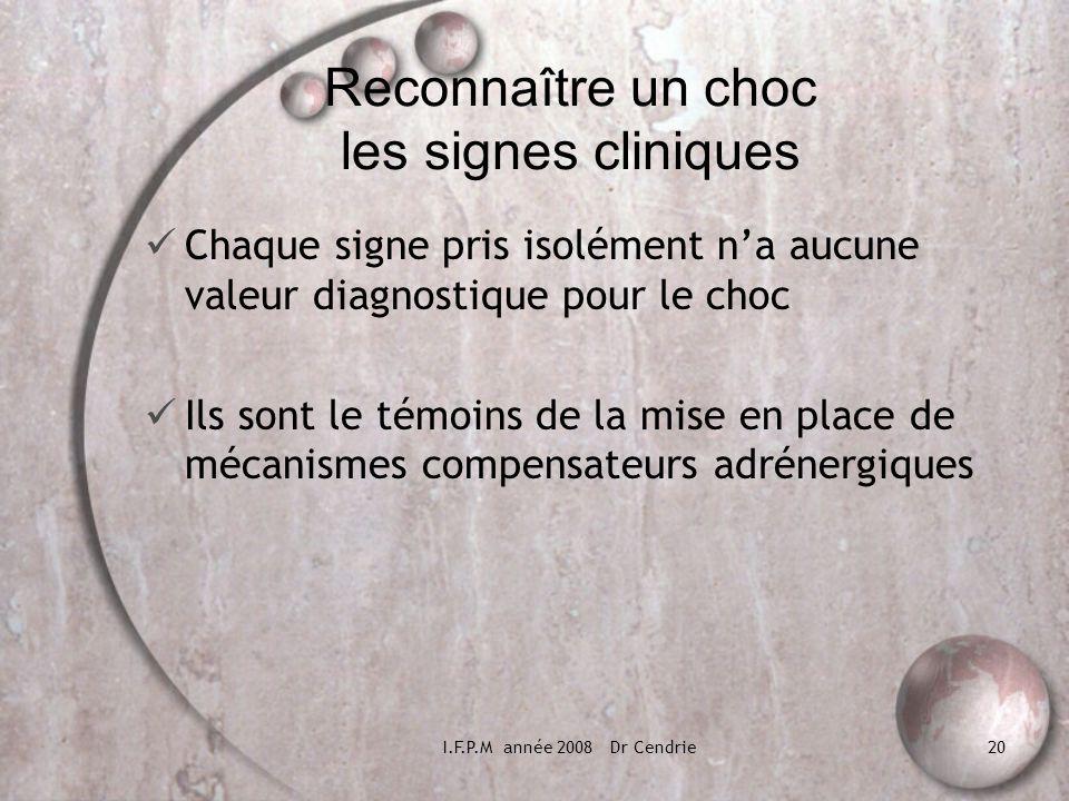 I.F.P.M année 2008 Dr Cendrie20 Reconnaître un choc les signes cliniques Chaque signe pris isolément na aucune valeur diagnostique pour le choc Ils so