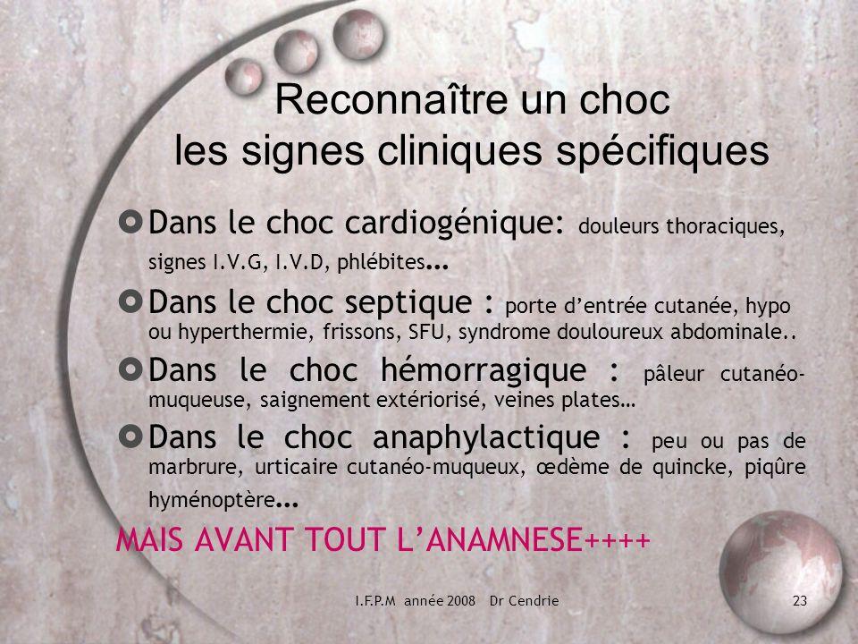 I.F.P.M année 2008 Dr Cendrie23 Reconnaître un choc les signes cliniques spécifiques Dans le choc cardiogénique: douleurs thoraciques, signes I.V.G, I