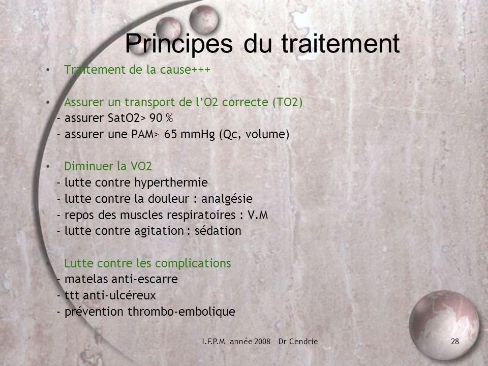 I.F.P.M année 2008 Dr Cendrie28 Principes du traitement Traitement de la cause+++ Assurer un transport de lO2 correcte (TO2) - assurer SatO2> 90 % - a