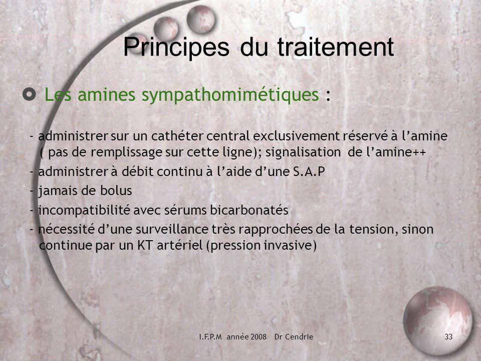 I.F.P.M année 2008 Dr Cendrie33 Principes du traitement Les amines sympathomimétiques : - administrer sur un cathéter central exclusivement réservé à