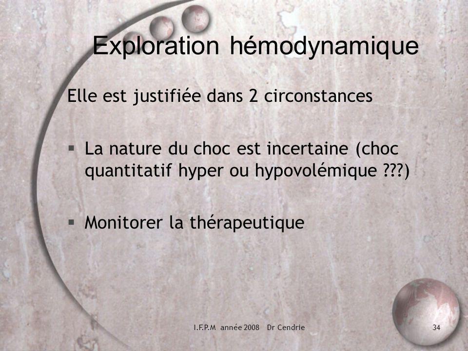 I.F.P.M année 2008 Dr Cendrie34 Exploration hémodynamique Elle est justifiée dans 2 circonstances La nature du choc est incertaine (choc quantitatif h