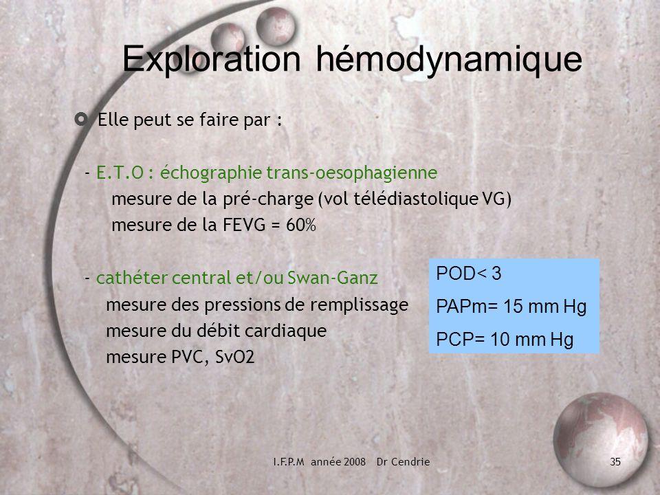I.F.P.M année 2008 Dr Cendrie35 Exploration hémodynamique Elle peut se faire par : - E.T.O : échographie trans-oesophagienne mesure de la pré-charge (