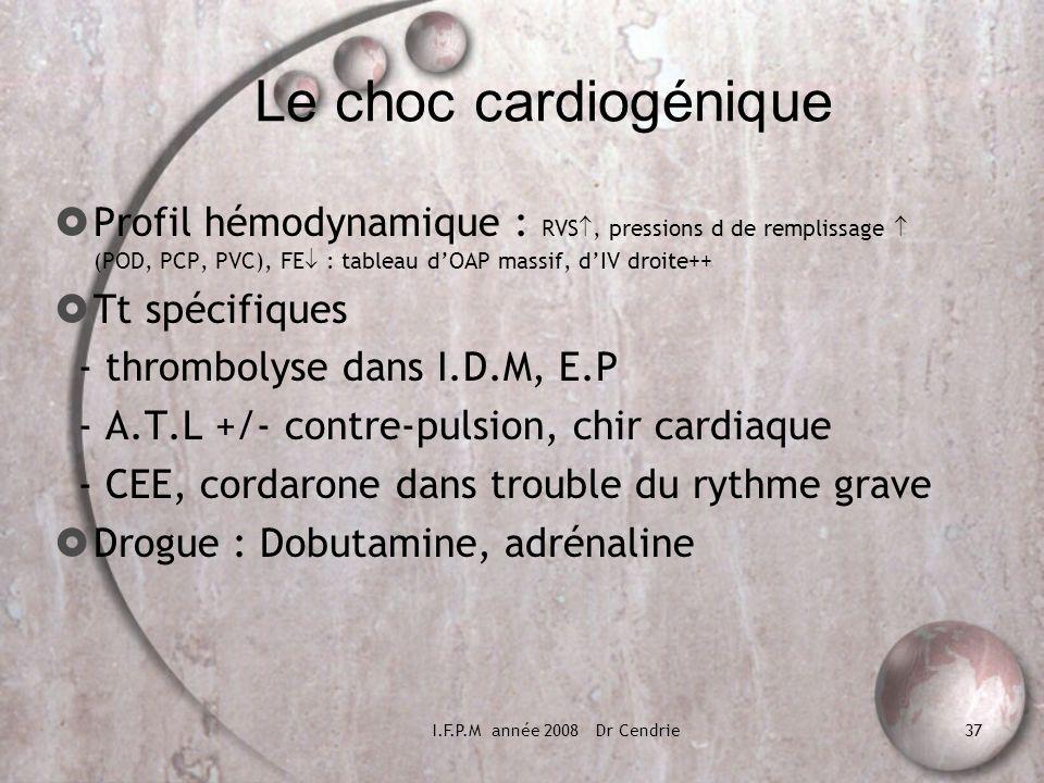 I.F.P.M année 2008 Dr Cendrie37 Le choc cardiogénique Profil hémodynamique : RVS, pressions d de remplissage (POD, PCP, PVC), FE : tableau dOAP massif