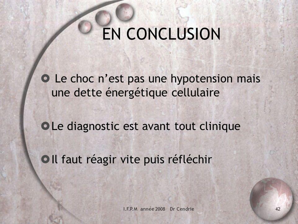 I.F.P.M année 2008 Dr Cendrie42 EN CONCLUSION Le choc nest pas une hypotension mais une dette énergétique cellulaire Le diagnostic est avant tout clin