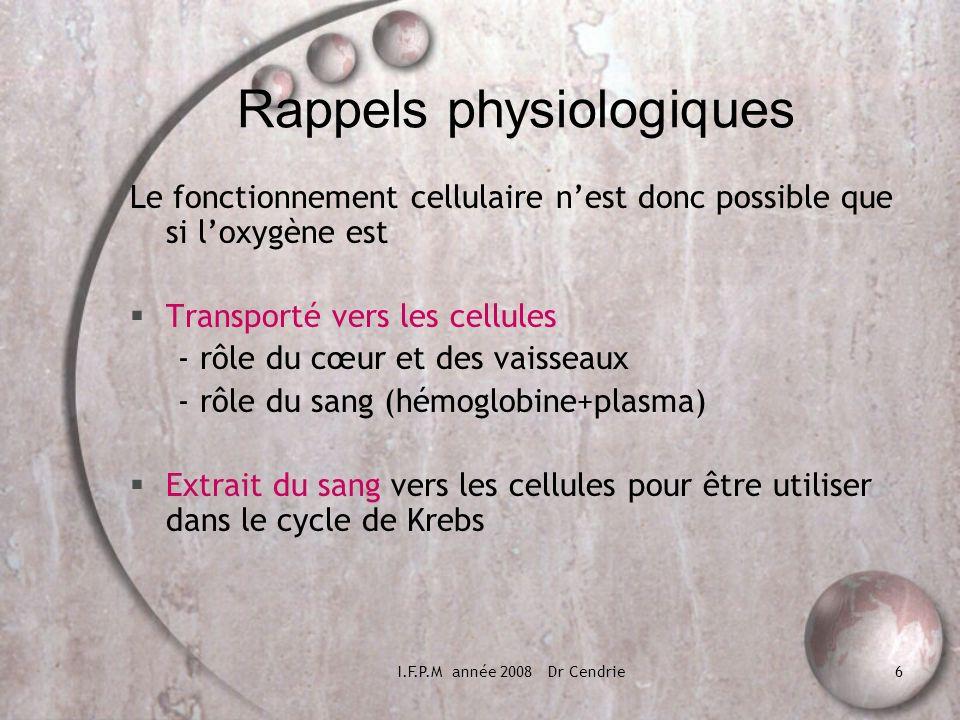 I.F.P.M année 2008 Dr Cendrie6 Rappels physiologiques Le fonctionnement cellulaire nest donc possible que si loxygène est Transporté vers les cellules
